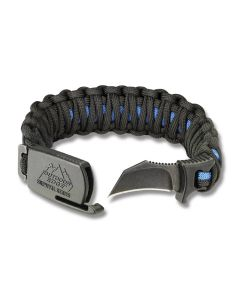 "Outdoor Edge Thin Blue Line Medium Para-Claw Paracord Bracelet and BlackStone Finish 8Cr13MoV Stainless Steel 1.5"" Hawkbill Plain Edge Blades Model PUC-80C"