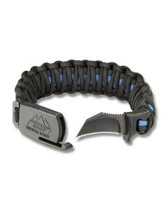 "Outdoor Edge Thin Blue Line Large Para-Claw Paracord Bracelet and BlackStone Finish 8Cr13MoV Stainless Steel 1.5"" Hawkbill Plain Edge Blades Model PUC-90C"