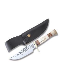 """Old Forge Hammered Steel Skinner with Stag Handles and Stainless Steel 6.125"""" Clip Point Plain Edge Blades Model NSI657/MSI877"""