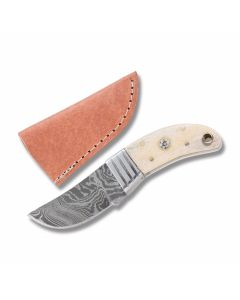 "Old Forge Stubby Skinner with Smooth Bone Handles and Damascus Steel 2.625"" Clip Point Plain Edge Blades Model 1154"