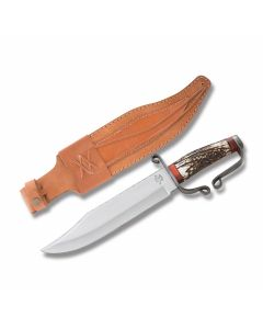 """Old Forge Confederate Bowie with Stag Handles and Stainless Steel 10"""" Bowie Plain Edge Blades"""