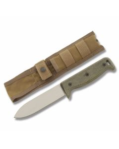 """Ontario SK-5 Black Bird with Black G-10 Handle and Satin Finish 154CM Stainless Steel 5"""" Drop Point Plain Edge Blade with Tan Nylon Sheath Model 7500"""
