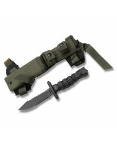 "Ontario ASEK Survival Knife System with Black Kraton Handle and Black Zinc Phosphate Coated 1095 Carbon Steel 4.938"" Clip Point Plain Edge Blade with Green Kydex Sheath Model 1400"