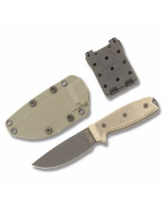 "Ontario RAT-3 Plain Blade with Green Canvas Micarta Handle and Black Zinc Phosphate Coated 3.938"" Drop Point Plain Edge Blade Model 8862"