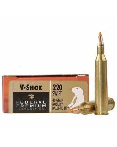Federal Premium V-Shok 220 Swift 40 Grain Nosler Ballistic Tip 20 Rounds