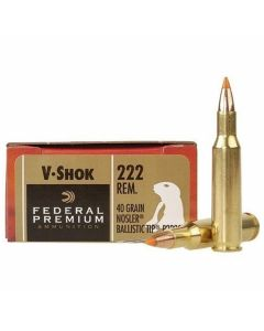 Federal Premium V-Shok 222 Remington 40 Grain Nosler Ballistic Tip Varmint Spitzer 20 Rounds