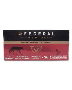 Federal Premium Varmint 224 Valkyrie 60 Grain Nosler Ballistic Tip 20 Rounds