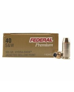 Federal Premium Personal Defense 40 Smith & Wesson 165 Grain Hydra-Shok Jacketed Hollow Point 20 Rounds