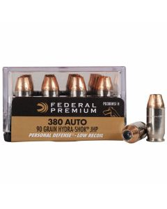 Federal Premium Personal Defense 380 ACP 90 Grain Hydra-Shok Jacketed Hollow Point 20 Rounds