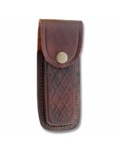"""Leather Sheath Fits Folding Knives Up To 5"""" Closed - Brown Scrolled"""