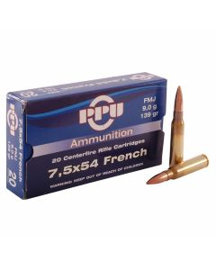 PPU 7.5x54 French MAS 139 Grain Full Metal Jacket 20 Rounds