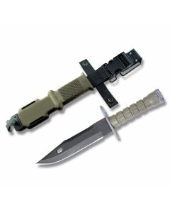 """Ontario M9 Bayonet with Green Thermoplastic Handle and Black Zinc Phosphate Coated 420 Stainless Steel 7"""" Clip Point Plain Edge Blade with Black Glass Filled Nylon Sheath Model 6220"""
