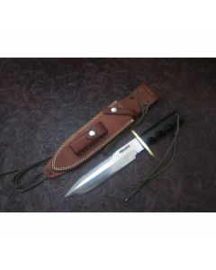 "Randall Made Knives Model 14 Attack with 7.563"" Stainless Steel Blade Black Micarta Handle Brass Double Hilt"