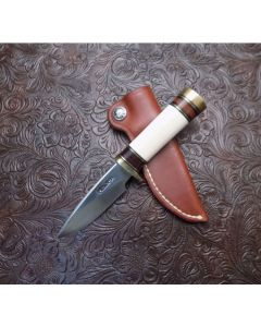 "Randall Made Knives Model 25 Mini Serial Number 1393 with 3 ½"" Stainless Steel Blade Standard Single Hilt with Interior Cut Fossilized Mammoth Ivory with Leather and Brass"