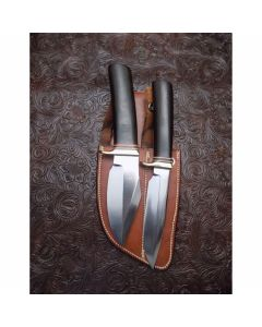 Randall Made Knives Rare Custom Twin Set with Model 5 Small Camp and Trail and a Model 19 Bushmaster with O1 Tool Steel in Original Rare Twin Carry Johnson Roughback Sheath