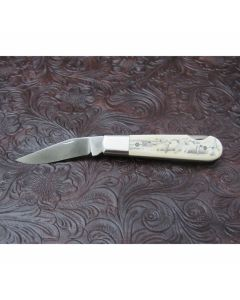 Walter Grigg custom small lock back Barlow with 2.50 inch 440-C stainless steel blade fossil walrus ivory handles with Rick Bowles scrimshaw work