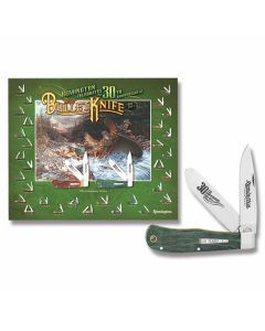 """Remington 30th Anniversary Old Faithful 4.5"""" Bullet Knife with Green Curly Maple Handles and Satin Finish Stainless Steel Blades with Poster Model 19144"""