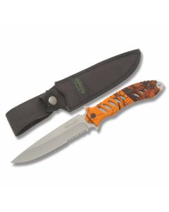 "Remington F.A.S.T. Fixed Blade with Blaze Orange Mossy Oak Rubber Coated Handle and 440 Stainless Steel 5.50"" Clip Point Partially Serrated  Blade and Nylon Sheath Model 19762"