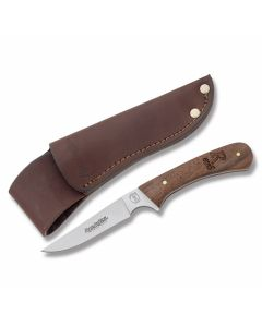 """Remington 870 Series Bird and Trout Knife with Wood Handles and 440 Stainless Steel Plain Edge 3.625"""" Drop Point Blade and Leather Belt Sheath Model 19970"""