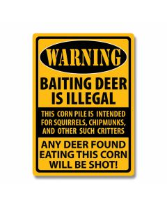 Baiting Deer Warning Tin Sign