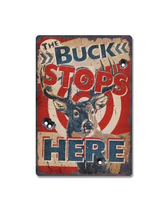 Rivers Edge Products The Buck Stops Here Tin Sign