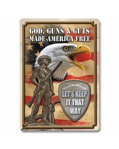 God, Guns and Guts Tin Sign