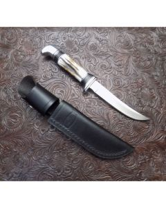 Remer Stone custom Buck 118 hunting knife with stag handle D2 steel skinning blade 4.439 blade length