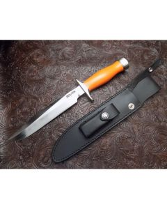 Randall Made Knives Model 1 All Purpose Fighter with 8 inch stainless blade with orange G-10 commando style handle nickel silver guard and butt-cap and polished Duralumin spacers
