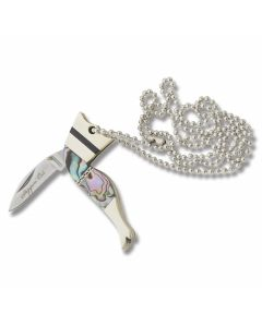 "Rough Rider Steppin' Out Lady Leg Necklace Knife 2.375"" Abalone Handle 440A Stainless Steel"