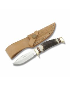 "Rough Rider Hunter's Buddy with Burnt Stag Handle and 440A Stainless Steel 2.75"" Clip Point Plain Edge Blade Model RR1243"