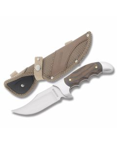 "Rough Rider Heavy Hunter Series Caribou with Polished Wood Handles and 440A Stainless Steel 4.25"" Clip Point Plain Edge Blades Model RR1347"