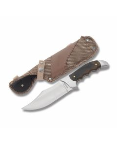 "Rough Rider Heavy Hunter Series Razorback with Polished Wood Handles and 440A Stainless Steel 5.50"" Clip Point Plain Edge Blades Model RR1350"