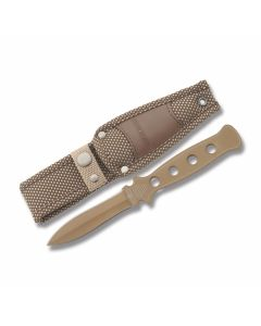 "Rough Rider Boot Knife with Stainless Steel Slotted Handle and Sand Color Coated 440A Stainless Steel 3.1875"" Spear Plain Edge Blade and Nylon Sheath Model RR1416"