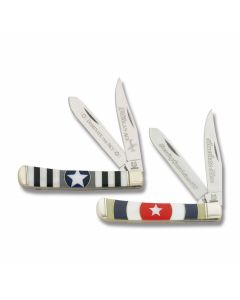 """Rough Rider American Hero and American Ace Trapper 4.125"""" Set with Synthetic Handles and 440A Stainless Steel Plain Edge Blades"""