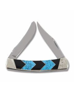 "Rough Rider Turquoise Peak Moose 4.25"" with Faux Turquoise and Black Jet Handles and 440A Stainless Steel Plain Edge Blades"