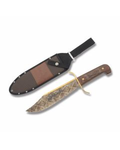 "Rough Rider Sidewinder Bowie with Wood Handles and Full Color Custom Snakeskin Onlay 440A Stainless Steel 9.25"" Clip Point Plain Edge Blades Model RR1601"