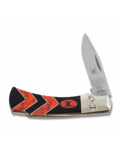 "Rough Rider Black Widow Lockback 3.625"" with Synthetic Black Jet and Red Coral Handles and 440A Stainless Steel Plain Edge Blades"