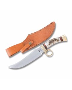 "Rough Rider Gamblers Hideout Bowie with Stag Handles and 440A Stainless Steel 6.25"" Clip Point Plain Edge Blades"