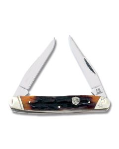 """Rough Rider Muskrat 3.875"""" with Brown Stag Bone Handles and 440A Stainless Steel Plain Edge Blades Model RR1805"""