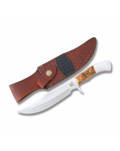 "Rough Rider High Plains Hunter with Genuine Stag Handles and Stainless Steel 6.375"" Clip Point Plain Edge Blades"