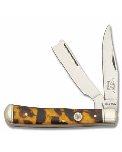 Rough Rider Razor Trapper Imitation Tortoiseshell Celluloid Handles 440A Stainless Steel