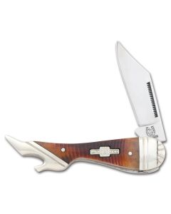 "Rough Rider Small Lady Leg 3.25"" with Brown Sawcut Bone Handles and 440A Stainless Steel Plain Edge Blades Model RR529"