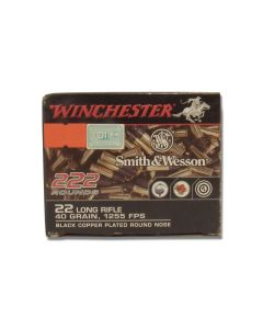 Winchester Smith & Wesson 22 Long Rifle 40 Grain Black Copper Plated Round Nose 222 Rounds