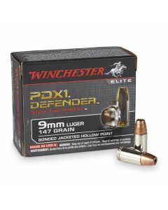 Winchester PDXI Defender 9mm Luger 147 Grain Bonded Jacketed Hollow Point 20 Rounds