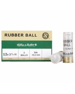 """Sellier & Bellot  Rubber ball 12 Gauge 2-5/8"""" 15mm Double Rubber Balls 25 Rounds"""