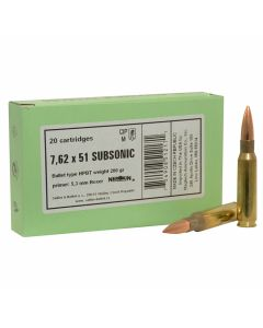 Sellier & Bellot 7.62x51 Subsonic 200 Grain Hollow Point Boat Tail 20 Rounds