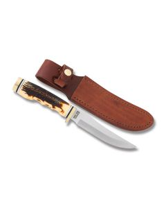 "Schrade Cutlery Uncle Henry Golden Spike with Staglon Handles and SCHRADE + 4.625"" Clip Point Plain Edge Blades"