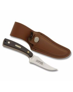 "Schrade Old Timer Sharpfinger Skinner with Brown Sawcut OT Composition Handle and 7Cr17MoV High Carbon Stainless Steel 3.50"" Skinner Plain Edge Blade and Leather Belt Sheath Model 152OT"