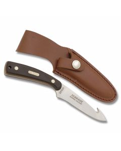 "Schrade Old Timer Sharpfinger Guthook with Brown Sawcut Composition Handle and 7Cr17MoV High Carbon Stainless Steel 3.50"" Drop Point Guthook Plain Edge Blade and Leather Belt Sheath Model 158OT"