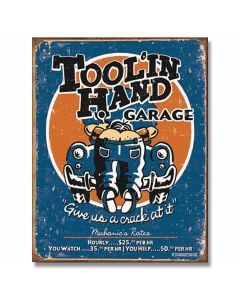 Tool'In Hand Garage Tin Sign